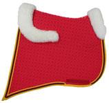 Mattes Barock-Schabracke mit Lammfellkissen und Rand vorne und hinten