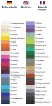 Farbauswahl Fashion Line Einfassbänder ISLAND-Sattelunterlagen