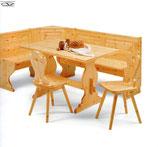 Giropanca  completo pino 193x133 completo di tavolo fratino fisso 130x80x3 e n02 sedie cuore pino naturale