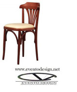 226 Katrin S/bracciolo-sedia in faggio-sedile imbottito in ecopelle,  scocca sedia tinta noce