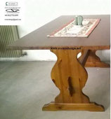T/184 tavolo fratino 180x80x4 spessore tinta noce, tinta naturale o miele