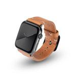 Apple Watchband Alex Vintage cognac 42/44mm Edelstahl Space Schwarz
