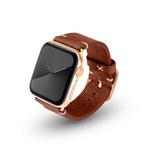 Apple Watchband Alex Vintage braun 42/44mm Edelstahl Gold