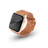 Apple Watchband Alex Vintage cognac 42/44mm Edelstahl Gold