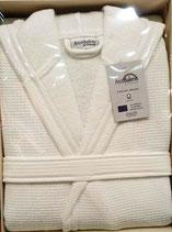 Albornoz baño Arco Baleno con capucha. Rizo algodón 100% Color Blanco