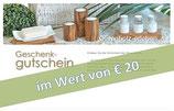 Geschenk-Gutschein im Wert von € 20,00
