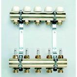 """Heizkreisverteiler 4 Kreise mit Durchflussmengenmesser, Vor-u. Rücklaufstamm 1"""""""