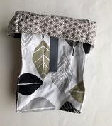Lunchbag Blätter (beige-grau-schwarz-weiss)