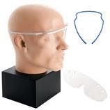 Schutzbrille mit zwei Ersatzscheiben blauem Rahmen Arbeitsbrille Augenschutz Laborbrille
