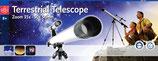 Teleskop zur Erdbeobachtung 650mm Tubus 50mm Linsendurchmesser 91cm Bodenstativ 6fach Sucher Neigermontierung Huygens Zoomokular