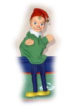 2001 Kasperle mit Bein aus Holzmasse