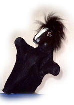 3309.2 Pferd schwarz (Kasperlepuppe aus Holzmasse)