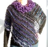 DER Poncho mb mit Kragen schwarz/violett