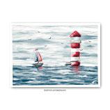 """""""Boot am Leuchtturm"""" - Postkarte"""
