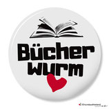 Bücherwurm - Button - 25 mm