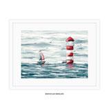 """""""Boot am Leuchtturm"""" DIN A3 - Kunstdruck"""