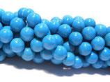 Magnesit, Türkis gefärbt, rund, glatt, ca. 10 mm