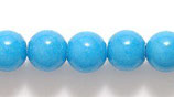Mountain-Jade, Türkis gefärbt, rund, glatt, ca. 10 mm