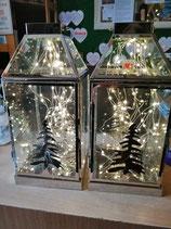 Edelstahllaterne zum Stellen oder zum Hängen mit LED-Licht