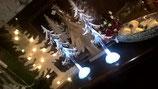 beleuchtete Wintertanne aus Acryl mit Eis bedeckt und Vögel