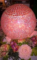 Mosaikkugel mit LED Lichterkette in rosa 15 cm Durchmesser