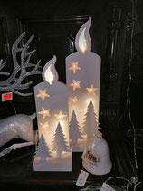 LED- Kerze in 3D-Technik - hier im Bild links die kleine Variante