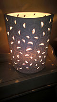 """Zylinderlampe elipsenförmig in Bisquitporzellan """"Ranke"""" Höhe 28 cm (kommt in Kürze wieder rein)"""