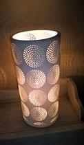 Zylinderlampe aus Bisquitporzellan Höhe 30 cm