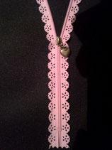 Fermeture à glissière dentelle rose - longueur 25 cm