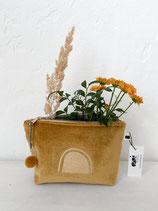 kleine Kosmetiktasche aus senfgelbem Samt, goldbedruckt