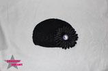 Mütze schwarz m. XL Blume ab 18M