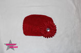 Mütze rot m. XL Blume ab 18M
