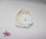 Mütze creme/ivory m. XL Blüte 0-2J