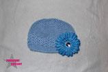 Mütze blau m. XL Blume ab 18M