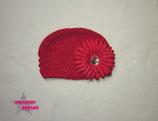 Mütze rot  m. XL Blume - ca. 18M