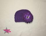 Mütze lila m. XL Blume - ca. 18M