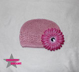 Mütze rosa m. XL Blume ab 18M