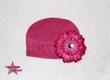 Mütze pink m. XL Blume ab 18M