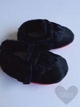 "Leren moccasins ""Black and red"""