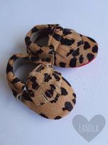 "Leren moccasins print ""Luipaard"""
