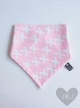 "Slabbetje handmade ""Pink & white kruisjes"""