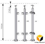 Pfosten Bodenmontage / Höhe 110cm / 2-4 Glashalter