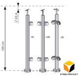Pfosten  Bodenmontage / Höhe 100cm / 2-4 Glashalter