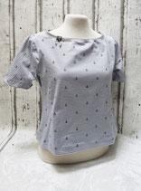 Cropped Shirt grau/weiße Streifen Anker