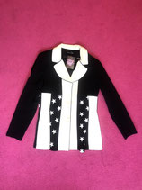Vintage black and white blazer with embroidered stars