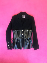VIntage Black blazer with faux leather fringes