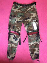 Camo strapped and buckled cargo pants