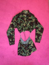 Camo reconstructed buckled dress