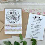 ROSEWOOD WEDDING Hochzeitseinladung + Umschlag