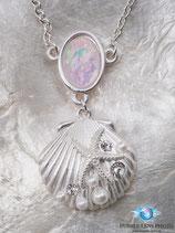 Muschel - Halskette mit Perlen und Zirkonia